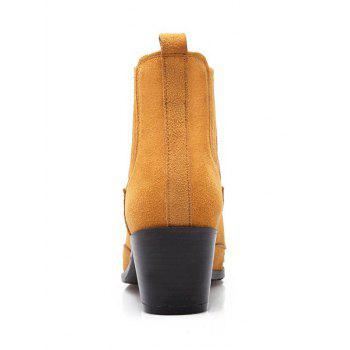 Trendy Engraving and Pointed Toe Design Women's Ankle Boots - BROWN 39