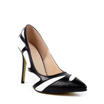 Buy Stylish Color Splice Stiletto Heel Design Women's Pumps BLACK