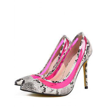 Party Snake Print and Transparent Design Women's Pumps - ROSE 37