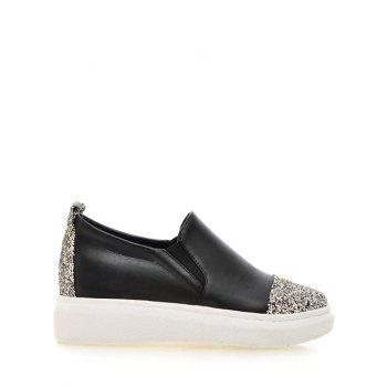 Fashionable Sequins and Slip-On Design Women's Platform Shoes - BLACK BLACK
