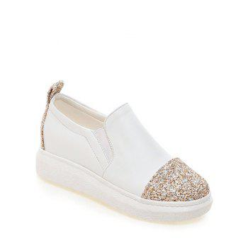 Fashionable Sequins and Slip-On Design Women's Platform Shoes - WHITE WHITE