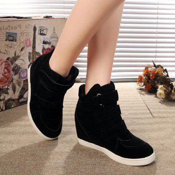 Stylish Hidden Wedge and Flock Design Women's Sneakers