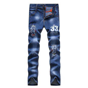 Zipper Fly Number Print Patch and Holes Design Narrow Feet Men's Jeans