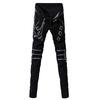Zipper Fly Zip-Up and Belt Embellished Narrow Feet Men's Pants
