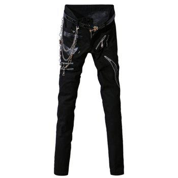 Zipper Fly PU-Leather Spliced Zip-Up Embellished Narrow Feet Men's Pants