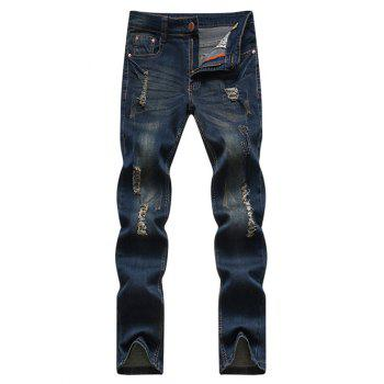 Zipper Fly Cat's Whisker and Holes Design Narrow Feet Men's Jeans
