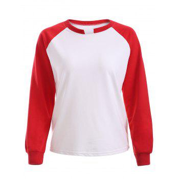 Simple Raglan Sleeve Hit Color Sweatershirt For Women
