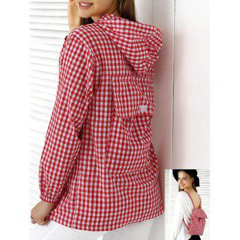 Chic Hooded Plaid Buttoned Multifunction Women's Blouse