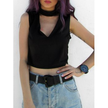 Stylish Stand-Up Collar Sleeveless Solid Color Hollow Out Women's Crop Top