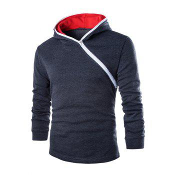 Casual Diagonal Zipper Design Long Sleeve Hoodie For Men