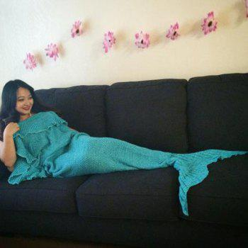 Fashionable Comfortable Falbala Decor Knitted Mermaid Design Throw Blanket