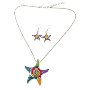 Starfish Necklace and Earrings Set - SILVER SILVER