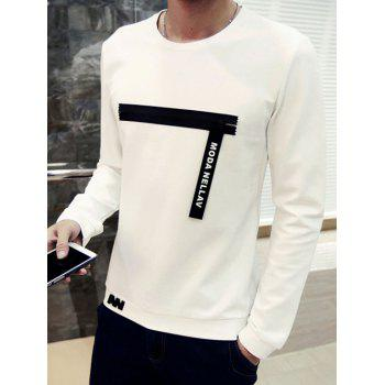 Round Neck Zipper Spliced Embellished Long Sleeve Men's Sweatshirt