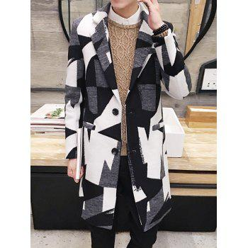 Longline Single Breasted Geometric Panel Coat