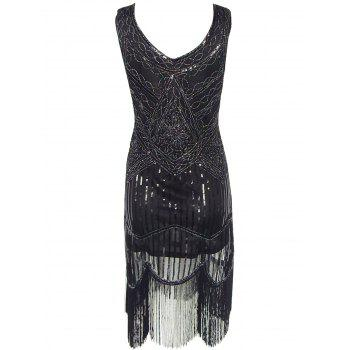 Vintage Beaded Fringed Sequin Flapper Dress - BLACK M