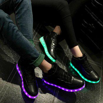 Chic Lights Up Led Luminous and Tie Up Design Women's Athletic Shoes - BLACK 40