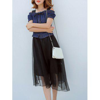 Trendy Hollow Out Denim Splicing Midi Dress - BLACK L