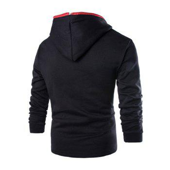 Casual Diagonal Zipper Design Long Sleeve Hoodie For Men - BLACK XL