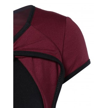 Elegant Bowknot Hit Color Bodycon Dress For Women - WINE RED S