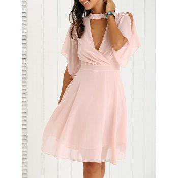 Firstgrabber Petal Sleeve Knee Length Chiffon Pastel Pleated Dress