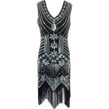Fringed Sequined Wavy Cut Vintage Flapper Dress
