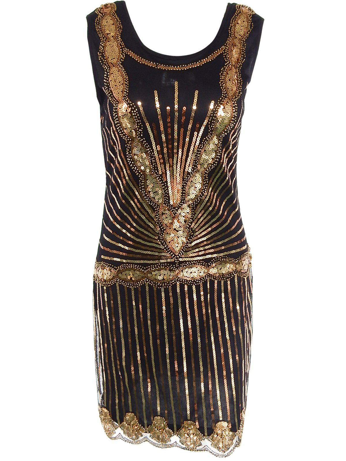 Sparkly Sequin Mini Tight Club Glitter Dress - BLACK/GOLDEN XL