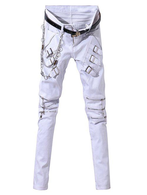 Zipper Fly Zip-Up and Belt Embellished Narrow Feet Men's Pants - WHITE 33