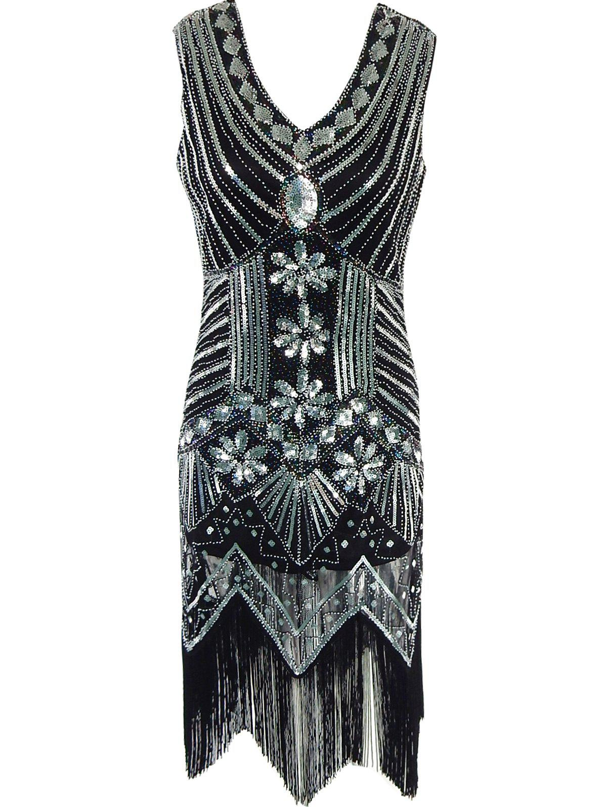Attractive Sequined Wavy Cut Dress For Women - BLACK XL