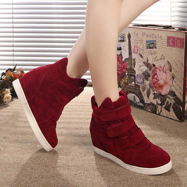 Stylish Hidden Wedge and Flock Design Women's Sneakers - WINE RED 39
