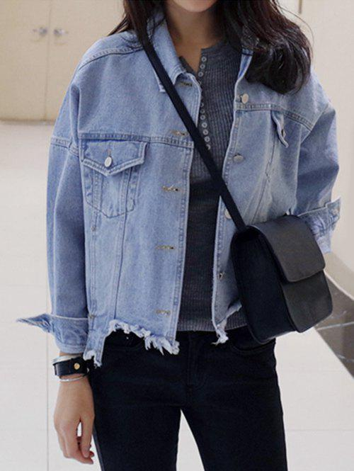 Single-Breasted Beggar Thin Jeans Jacket - LIGHT BLUE L
