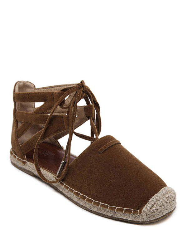 Rome Style Tie Up and Espadrilles Design Women's Flat Shoes - BROWN 39