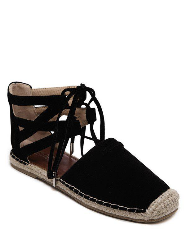 Rome Style Tie Up and Espadrilles Design Women's Flat Shoes - BLACK 38
