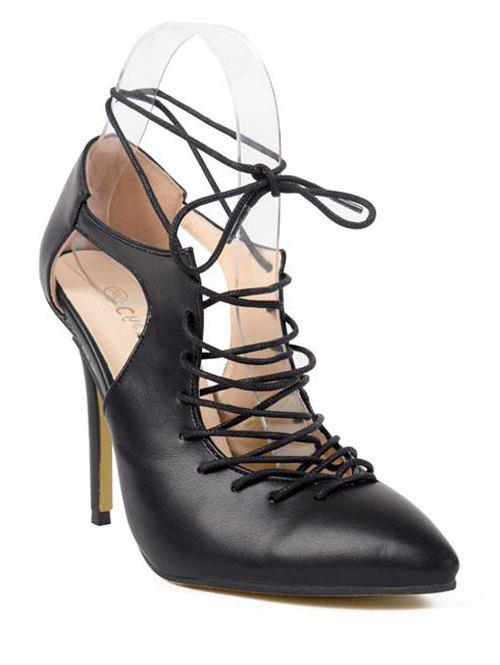 Stylish Lace-up and Cut Out Design Women's Pumps - BLACK 39