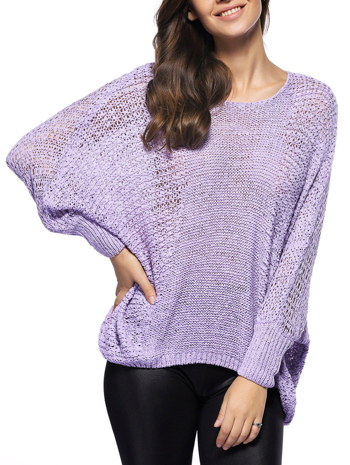 Asymmetric Batwing Sleeve Openwork Sweater