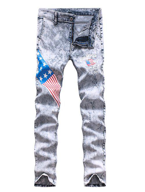 Zipper Fly Star and Stripe Print Holes Design Narrow Feet Men's Jeans - COLORMIX 33