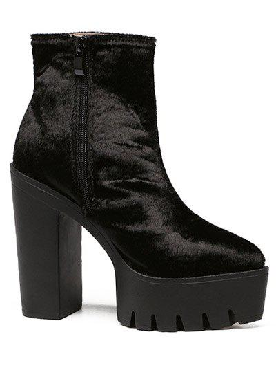 Trendy Black and Horsehair Design Women's Short Boots - BLACK 39