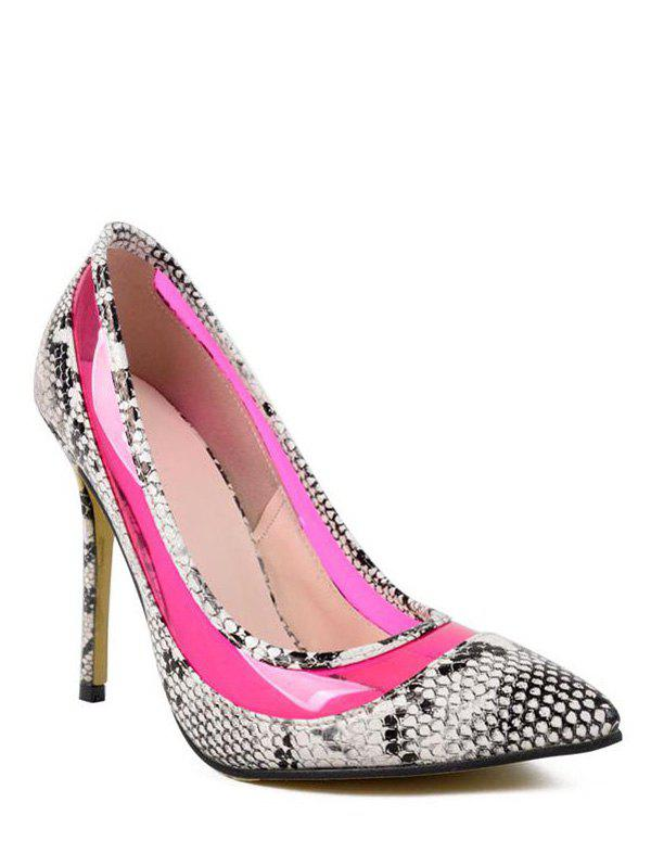 Party Snake Print and Transparent Design Women's Pumps - ROSE 39