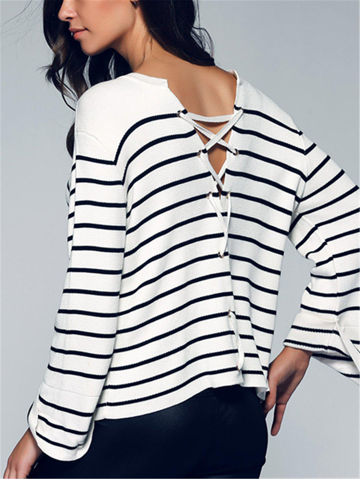 Back Lace-Up Striped Sweater - WHITE ONE SIZE