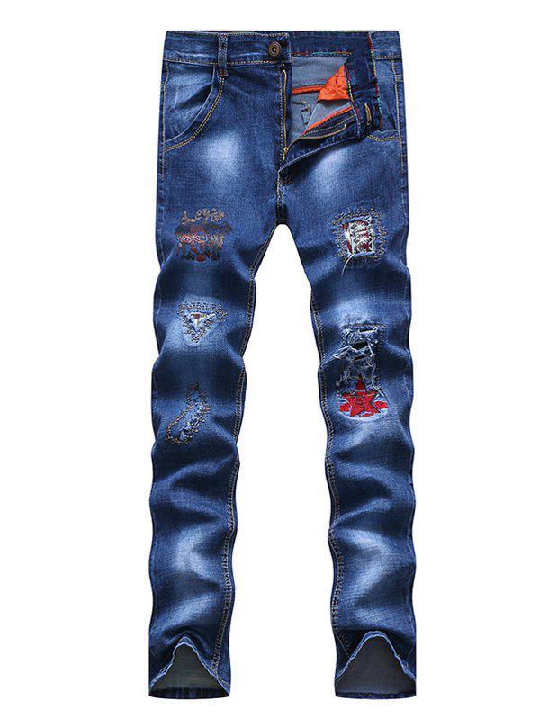 Zipper Fly Embroidery Patch and Holes Design Narrow Feet Men's Jeans - BLUE 29