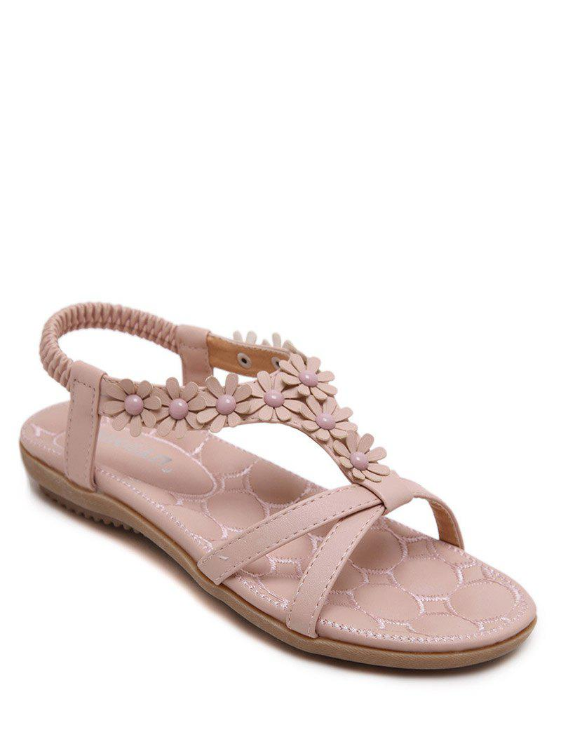 Casual Flowers and T Bar Design Women's Sandals - PINK 39