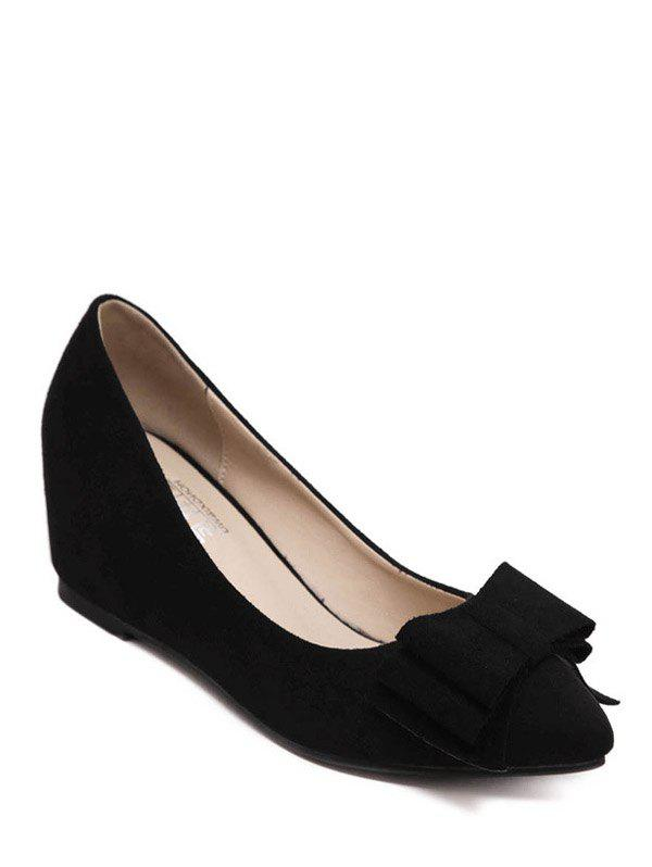 Stylish Bow and Pointed Toe Design Women's Wedge Shoes - BLACK 39