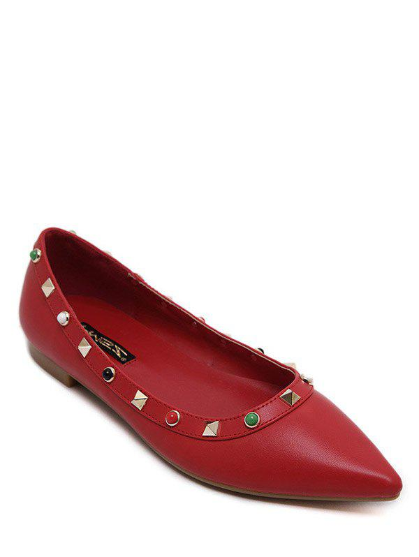 Fashionable Beading and Metal Rivets Design Women's Flat Shoes - RED 39