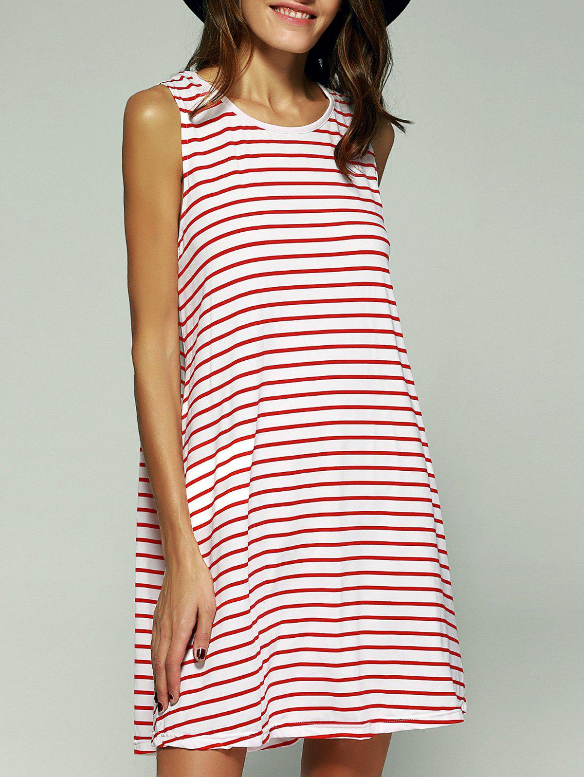 Striped Mini Swing Dress - RED XL
