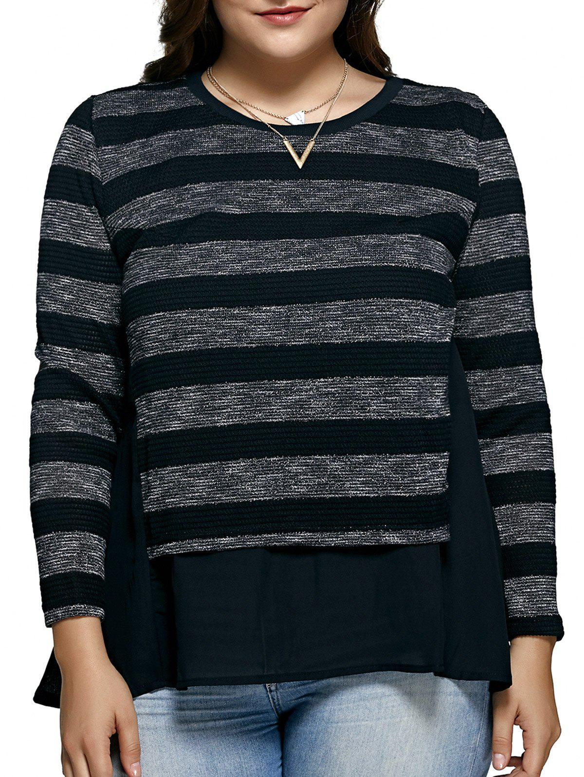 Women's Striped Oversized Blouse - BLACK 5XL