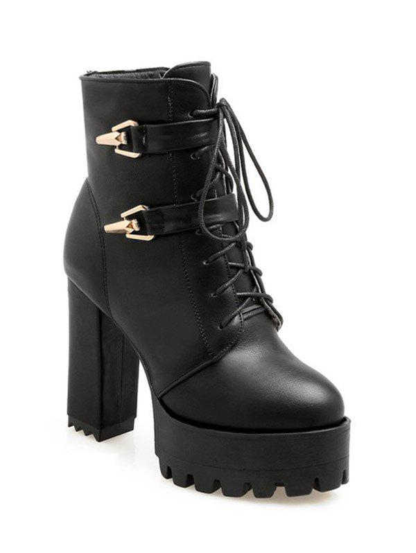Stylish Metal and Chunky Heel Design Women's Short Boots - BLACK 39
