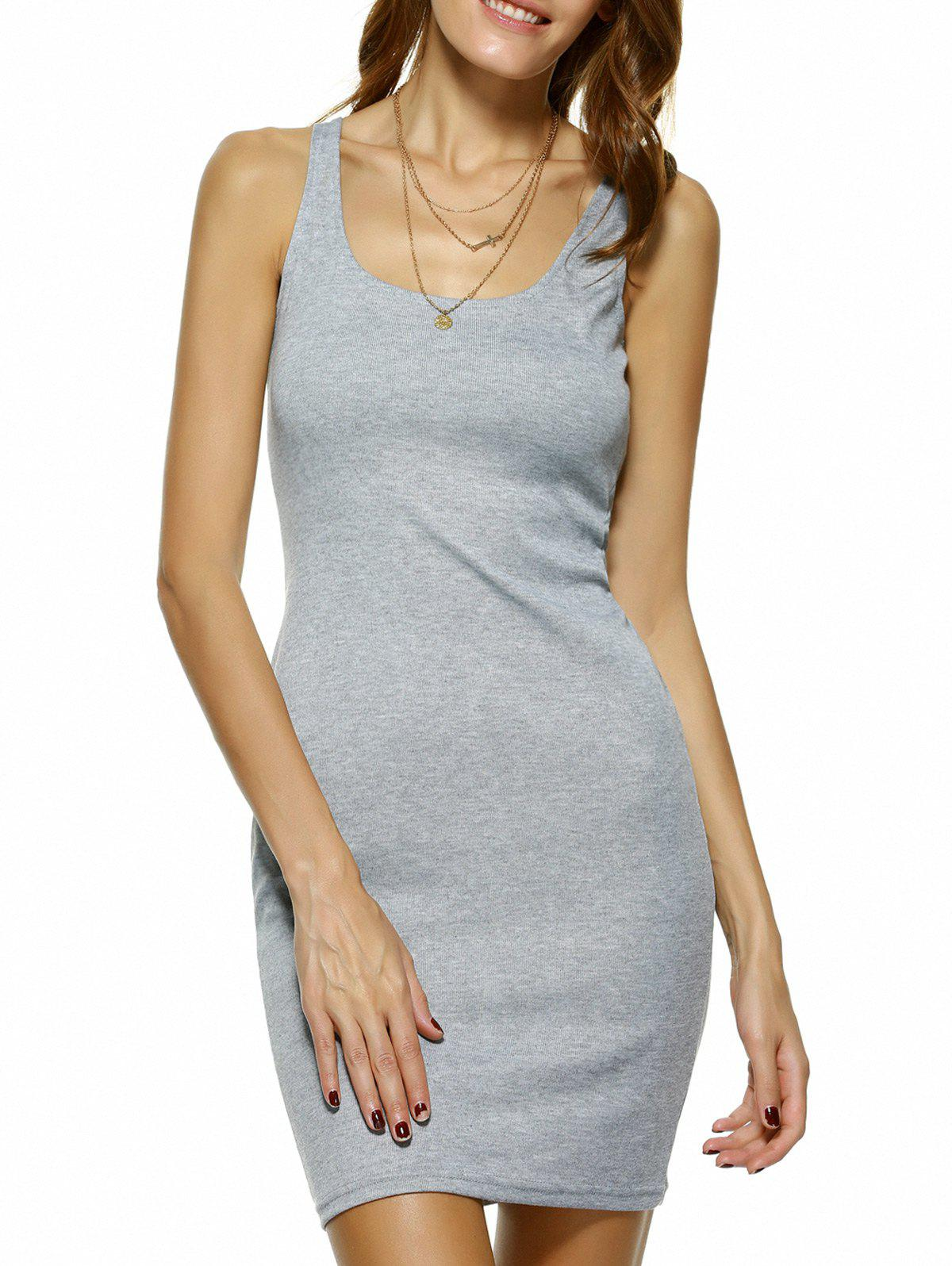 Bodycon Square Neck Mini Tank Dress - GRAY XL