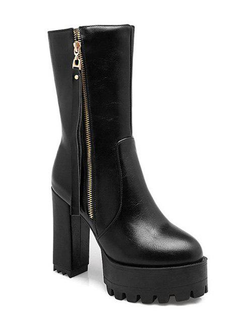 Stylish Side Zip and Chunky Heel Design Women's Short Boots - BLACK 38
