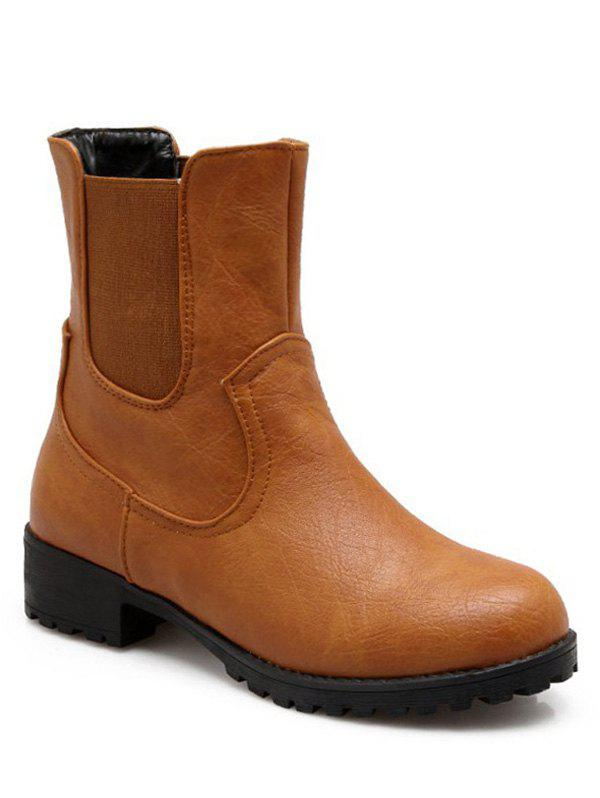 Simple Solid Color and Elastic Band Design Women's Short Boots - BROWN 37