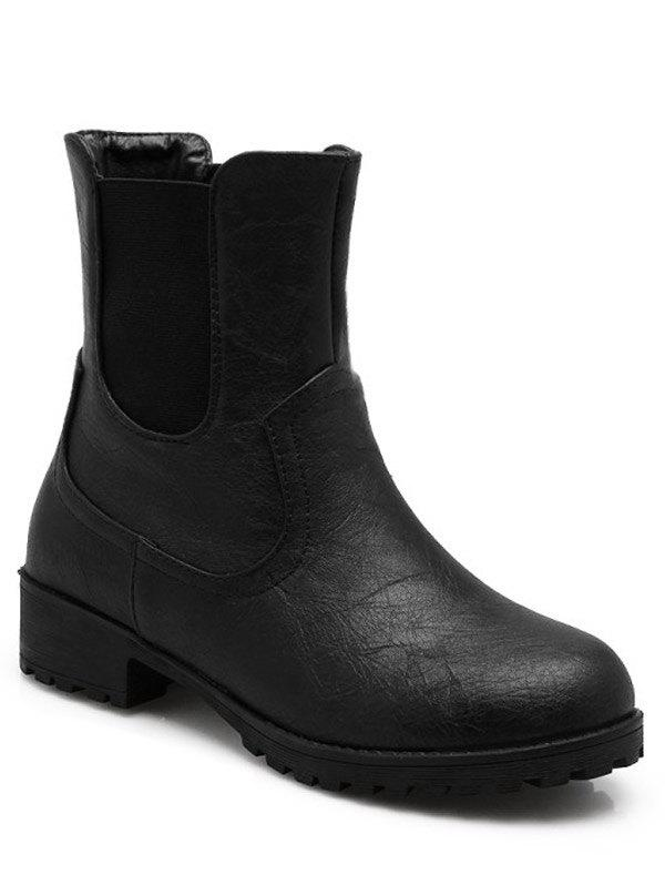 Simple Solid Color and Elastic Band Design Women's Short Boots - BLACK 39