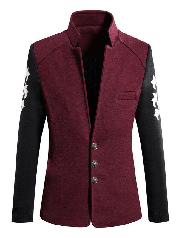 Trendy Color Block Spliced Stand Collar Long Sleeve Coat For Men - WINE RED 3XL